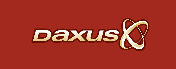 Daxus logo on red