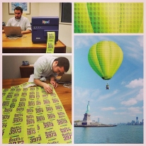 A creative and fun image showing how we'll get getting to the Fancy Food show in NYC: By printing labels with a QuickLabel printer that has our booth number, assembling them into sheets, and then making the sheets into a hot air balloon.